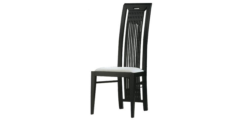 Black Dining Chair with High Back Seat