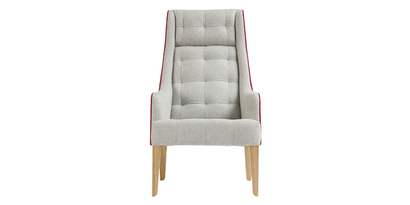 Grey Tufted Wingback Chair with a High Back