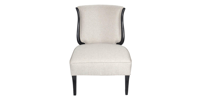 White Slipper Chair with Wooden Edges