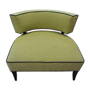 Modern Style Slipper Chair with Contrast Piping Details and Woode...