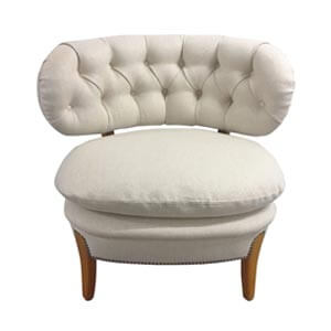 Modern Style Slipper Chair with Curved Tufted Back