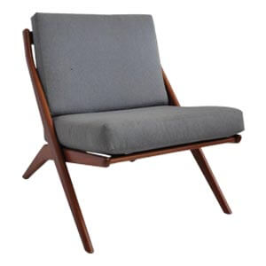 Transitional Style Slipper Chair in Scissor  Design and Slatted B...