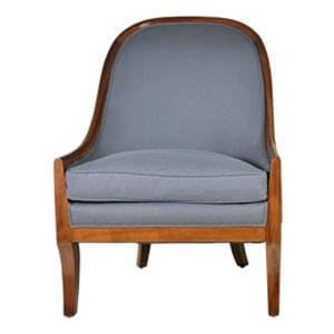 Modern Slipper Chair with Wooden Edges and Curved Back - Grey