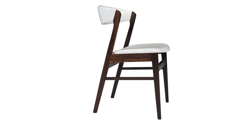White Wood Dining Chair with Curved Back for Ext...