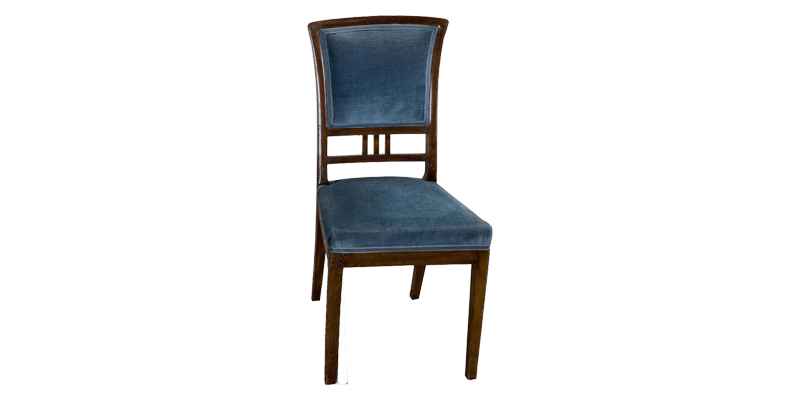 Blue Upholstered Dining Chair with Tapered Legs