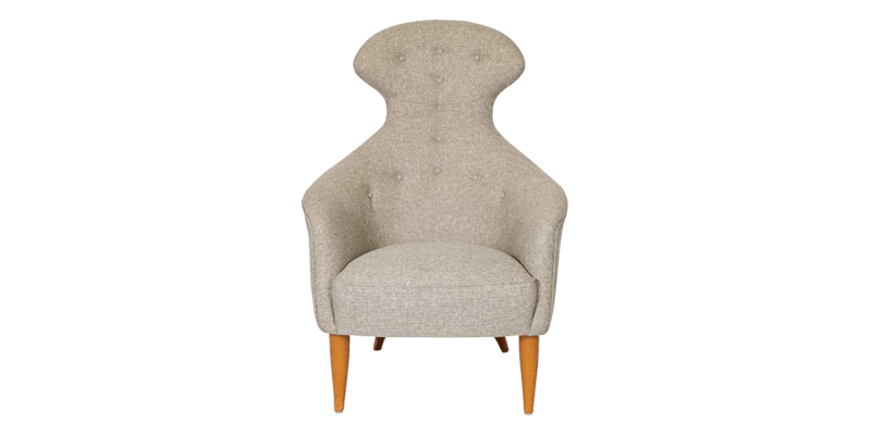 Textured Grey Wingback Chair in Hourglass Frame