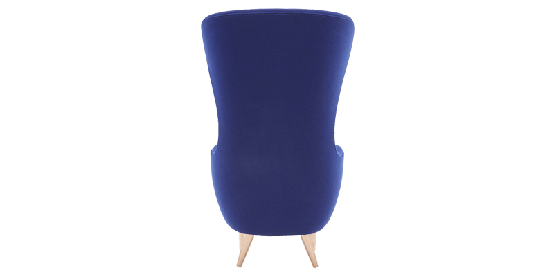 Blue High Back Wing Chair With Curved Silhouette