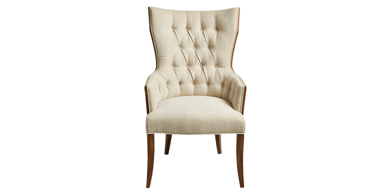 High back Wing Chair with Wood Trim on Frame