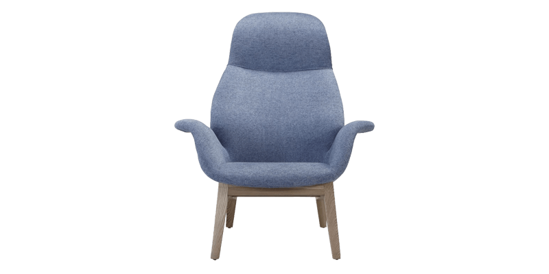 High Back Wing Chair in Contour Style with Flared Arms