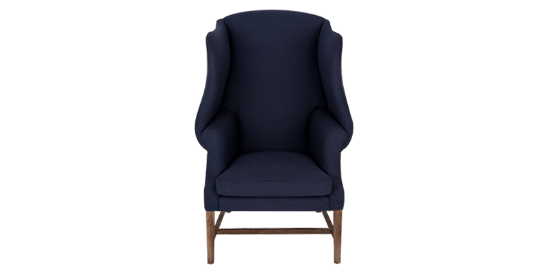 Navy Blue Wing Chair with Deep Curved Wings