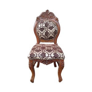 Classic Armless Dining Chair with Carved Floral Accents