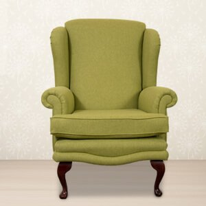 Classic Olive Wingback Chair Fabric Rolled Arms