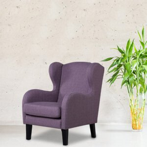 Contemporary Wingback Chair Fabric Self Stitch Detail