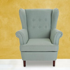 Contemporary Blue Wingback Chair Fabric Conical Legs