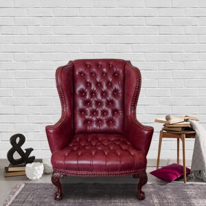 Classic Wingback Chair Leather Ornate Legs