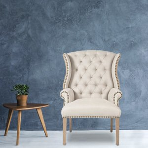 Contemporary White Wingback Chair Fabric Curved High Back