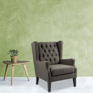 Contemporary Blue Wingback Chair Fabric Track Arms