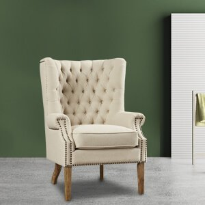 Contemporary Wingback Chair Fabric Neo-classical Design