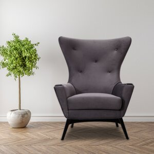 Contemporary Wingback Chair Velvet Curved Hourglass Design