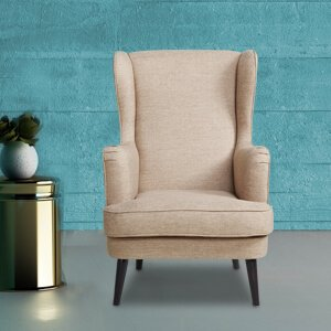 Modern Wingback Chair Fabric Piped Cushions