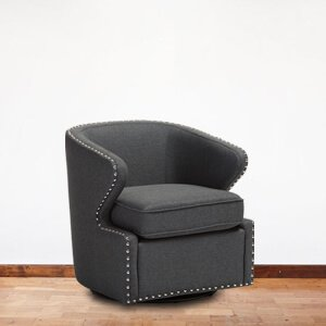 Contemporary Black Wingback Chair Fabric Stud Details