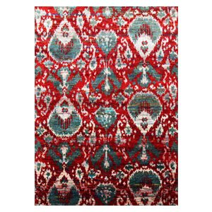 Jaipur Rugs Modern Hand Knotted Ribbon Red Recycled Area Rug