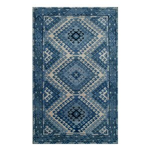 Jaipur Rugs Classic Hand Knotted Indigo Blue Antique White Wool A...