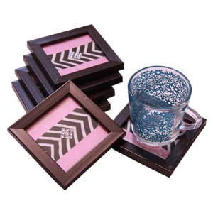 Wooden Ethnic Indian Tray with Brocade Designs and Coasters- Pink...