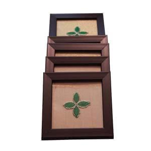 Wooden Indian Tray with 6 Coasters with a Touch of Ethnic Trims