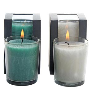 Aromatic Chic Dual Pair Candles with Glass Holder
