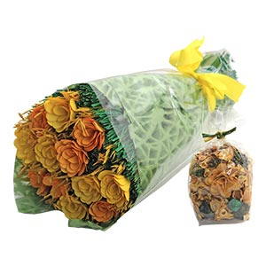 Gifting Floral bouquet with Yellow Flowers Dried Botanicals and L...