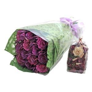 Gifting Floral bouquet with Purple Flowers Dried Botanicals and L...