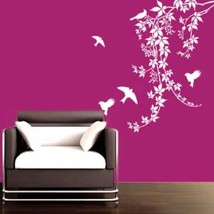 Nature Inspired Birds on Vine Wall Decal