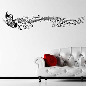 Modern Graphic Inspired Musical Butterfly Wall Decal