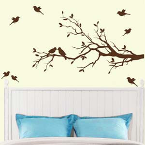 Nature Inspired Birds on Branch Wall Decal