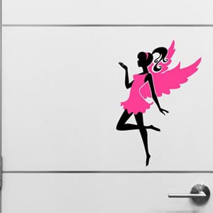Chipakk HD Classy Fairy Vinyl Matte Finished Door Decal -Pink and...