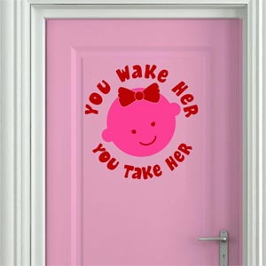 Chipakk HD Baby Girl Door Decal - Pink and Red