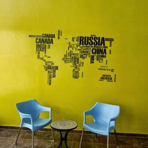 Modern Graphic Inspired World Map Wall Decal