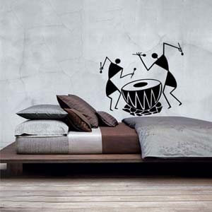 Ethnic Indian Inspired Warli Dhol Wall Decal