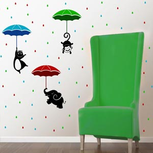Chipakk Animals with Umbrella Theme HD wall Decal - Multicolor