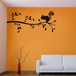 Nature Inspired Squirrel on Branch Wall Decal
