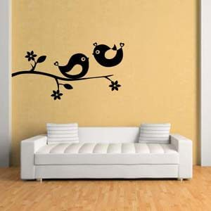 Nature Inspired Love Birds On the Branch Wall Decal