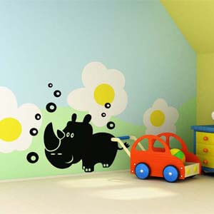 Birds and Animals Inspired Rhino with Bubbles Wall Decal
