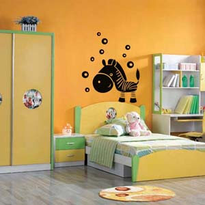 Birds and Animals Inspired Zebra with Bubbles Wall Decal