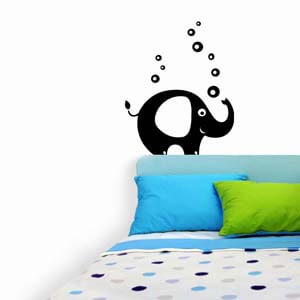 Birds and Animals Inspired Baby Elephant with Bubbles Wall Decal