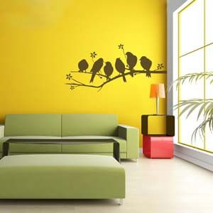 Wall Decal of Multiple Birds Perched on a Branch