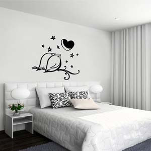 Nature Inspired Birds and Heart Wall Decal