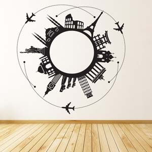 Modern Graphic Inspired Around the World Wall Decal