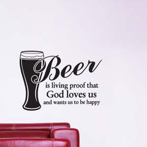 Modern Graphic Inspired Happy with Beer Wall Decal