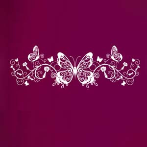 Modern Graphic Inspired Butterfly and Vines Wall Decal